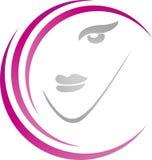 Le visage, la coiffure et les coiffures des femmes, façonnent le logo, icône image libre de droits