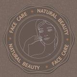 Le visage, la main et le texte font face à la beauté naturelle de soin Photo stock