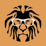 Le visage principal de lion dans les verres dirigent l'appartement d'illustration illustration de vecteur