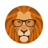 Le visage principal de lion dans les verres dirigent l'appartement d'illustration illustration stock