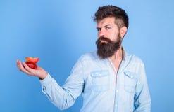Le visage strict d'homme avec la barbe offre les festins organiques Fraises et pomme barbues de prises de hippie sur la paume Off image stock
