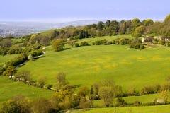 Le viste dal paese della collina di Crickley parcheggiano vicino a Gloucester Fotografia Stock