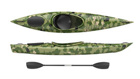 Le viste laterali superiori e di incrocio verde kayak Kajak corrente del fiume e di Whitewater 3D rendono, isolato su fondo bianc Immagine Stock