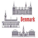 Le viste simboliche di viaggio della Danimarca assottigliano la linea icona illustrazione vettoriale