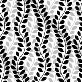 Le viti ondulate in bianco e nero dell'edera lascia il modello senza cuciture verticale, vettore illustrazione di stock