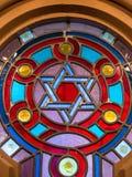Le vitrail de la synagogue images stock