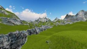 Le vol au-dessus de la vallée 3D de montagne rendent illustration de vecteur