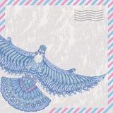 Le vol décoratif a plongé sur la poste aérienne stylisée par carte Image libre de droits
