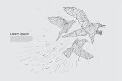 Le vol d'oiseau avec le mouvement et l'effet Photos stock