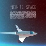 Le vol de bateau de fusée dans l'espace spaceship Photos libres de droits