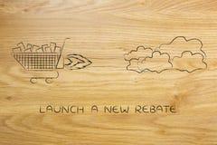 Le vol de caddie aiment une fusée, lancent une nouvelle vente illustration libre de droits