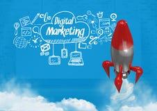 le vol de 3D Rocket et la vente de Digital textotent avec des graphiques de dessins Photos stock