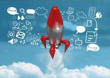 le vol de 3D Rocket et les icônes sociales de media textotent avec des graphiques de dessins Photographie stock libre de droits
