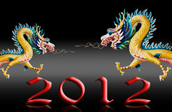 Le vol de dragon avec 2012, glacent le fond noir Photo stock