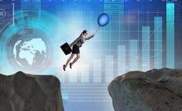 Le vol de femme d'affaires tenant le ballon Photographie stock libre de droits