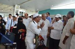 Le vol de Haj décolle de l'aéroport international de Mangalore image stock