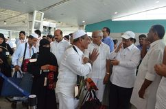 Le vol de Haj décolle de l'aéroport international de Mangalore Image stock