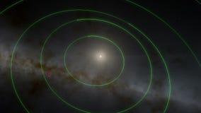 Le vol du Sun dans le bord du système solaire avec le système solaire animé satellise le diagramme banque de vidéos