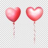 Le vol gonflable d'air monte en ballon sous la forme de coeurs D'isolement et transparent avec l'éclat en verre Illustration de v Photographie stock libre de droits