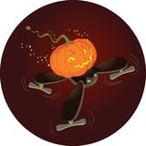 Le vol mignon de potiron de Halloween sur un bourdon Photographie stock libre de droits