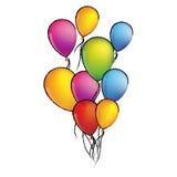 le vol réglé de croquis coloré monte en ballon l'icône décorative Image libre de droits