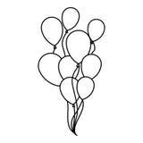 le vol réglé de croquis de silhouette monte en ballon l'icône décorative Photo libre de droits
