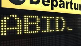 Le vol vers Abidjan sur des départs d'aéroport international embarquent Déplacement à l'animation conceptuelle d'introduction de  illustration stock