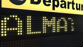Le vol vers Almaty sur des départs d'aéroport international embarquent Déplacement à l'animation conceptuelle d'introduction de K illustration libre de droits