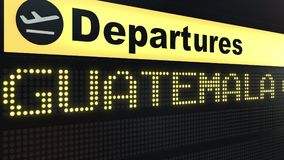 Le vol vers Guatemala City sur des départs d'aéroport international embarquent Déplacement au rendu 3D conceptuel du Guatemala Illustration Libre de Droits