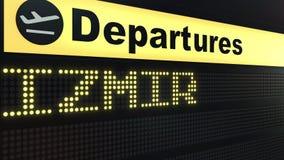 Le vol vers Izmir sur des départs d'aéroport international embarquent Déplacement au rendu 3D conceptuel de la Turquie illustration libre de droits