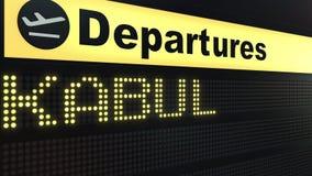 Le vol vers Kaboul sur des départs d'aéroport international embarquent Déplacement au rendu 3D conceptuel de l'Afghanistan Image libre de droits