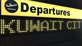 Le vol vers Kuwait City sur des départs d'aéroport international embarquent Déplacement au rendu 3D conceptuel du Kowéit Photos libres de droits