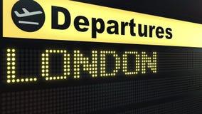 Le vol vers Londres sur des départs d'aéroport international embarquent Déplacement au rendu 3D conceptuel du Royaume-Uni illustration de vecteur