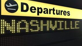 Le vol vers Nashville sur des départs d'aéroport international embarquent Déplacement au rendu 3D conceptuel des Etats-Unis illustration libre de droits
