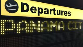 Le vol vers Panamá City sur des départs d'aéroport international embarquent Déplacement au rendu 3D conceptuel du Panama Illustration de Vecteur