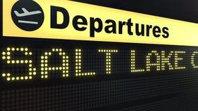 Le vol vers Salt Lake City sur des départs d'aéroport international embarquent Déplacement aux Etats-Unis 3D conceptuel Image libre de droits