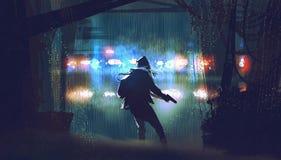 Le voleur avec l'arme à feu attrapé par la police illustration de vecteur