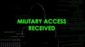 Le voleur de cyberespace a reçu l'accès militaire, remarquant le système de données de gouvernement photo stock