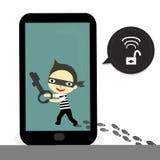 Le voleur ouvrent le mobile Images libres de droits