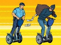 Le voleur se sauve avec l'argent de la police Image libre de droits