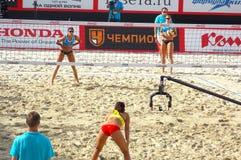 Le volleyball 2015 de plage de tournoi de claquement de glande de Moscou Russie Moscou 31 peut 2015 Photo stock
