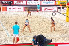 Le volleyball 2015 de plage de tournoi de claquement de glande de Moscou Russie Moscou 31 peut 2015 Photos stock