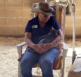 Le volontaire berce un porcelet à la foire du comté de Los Angeles photos libres de droits