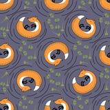Le volpi, le piante ed il pino arancio vector il modello senza cuciture Fotografia Stock Libera da Diritti