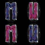 Le volume marque avec des lettres M, N avec les rhinestones brillants Image stock
