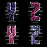 Le volume marque avec des lettres Y, Z avec les rhinestones brillants Images libres de droits