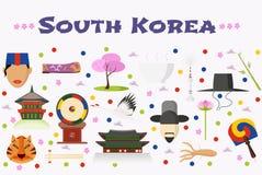 Le voyage aux icônes de vecteur de la Corée du Sud a placé, fond ou bannière Photo stock