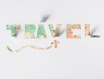 Le voyage de mot coupé du papier, Photos stock