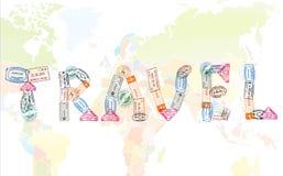 Le voyage de Word créé avec le passeport emboutit sur le fond de carte du monde, concept de voyage Photographie stock