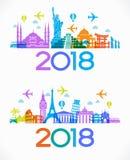 Le voyage et la bonne année 2018 conçoivent le fond avec des icônes et des points de repère de tourisme illustration de vecteur